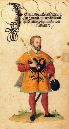 """Herold Johann Holland (S.31). -- """"Der Ehrenbrief"""", bei Jakob Püterich von Reichertshausen, Ende 16. Jh. [BSB München, Cgm 9220]."""