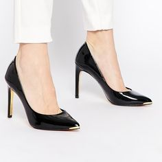 "Ted Baker ""Neevo"" Pumps All pointy-toe pump is both refined and feminine with a flashy metallic toe cap that adds mirror-shine glamour. 4"" heel Ted Baker Shoes Platforms"