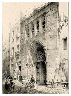 008-Souvenir du vieux Paris…1835- L.T. Turpin de Crissé- Institut National d'histoire de l'art- INHA  008- Pórtico de una capilla en la calle St. Pierre aux boeufs.