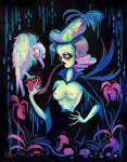 CAMILLE ROSE GARCIA (1970) Titolo dell'opera: 'Ghost vulture serenade', 2017, acrylic and glitter on wood Dimensioni:  35,6 x 28