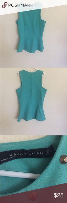 Zara Light sea green sleeveless top Beautiful light sea green color with stud collar details Zara Tops