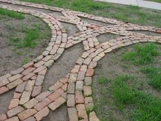 Reclaimed brick pathway under construction