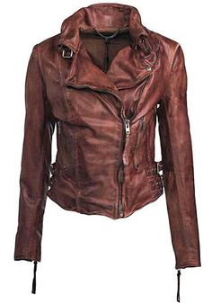 I have inappropriate thoughts about how ridiculously good looking this jacket is! Muubaa leather Flax biker jacket in burnet