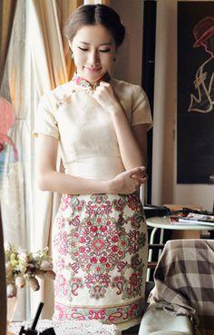 Summer Fall Printed Floral Linen Chinese Dress,Cheongsam