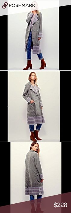 "Free People olive, blue wine roomy Duster Coat S Free People muted olive, blue & wine roomy brushed cotton Blanket Stripe Duster Coat long medium weight muted olive duster coat featuring muted blue & wine blanket like striped contrast with raw trim. Flap front oversized pockets * Hidden snap closures * Back buttons at the bottom  lined in tan soft cotton  New Without Tags  *  Size:  Small  99% cotton * 1% spandex machine wash cold  measures: 40"" around bust 42"" around waist 46"" around hips…"