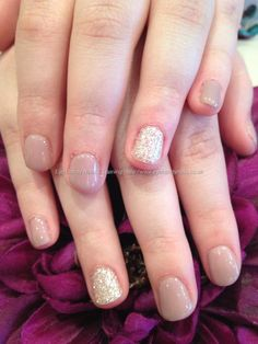 Autograph+gel+polish+with+silver+glitter+ring+finger+over+natural+nails