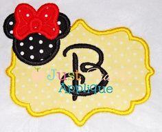 Girl Mouse Frame Applique Design
