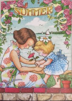 Handmade Fridge Magnet-Mary Engelbreit Artwork-Summer