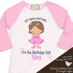 ballerina birthday girl shirt ballet / dance theme party tshirt birthday girl 3/4 RAGLAN on Etsy, $22.50