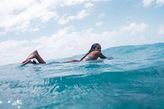 Caroline Marks and Mainei Kinimaka talk first surfs and sunburns at Snapper Rocks #ROXYpro | Roxy