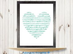 Music print, Music poster, Music art, Heart print, Green print, Love print art, Music printables, instant download, nursery printable decor
