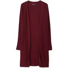 Violeta by Mango Striped Cotton Cardigan , Dark Red ($71) ❤ liked on Polyvore featuring tops, cardigans, dark red, short-sleeve cardigan, plus size tops, lightweight cardigan, plus size open front cardigan and open front cardigan