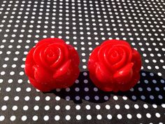Large Scarlet Red Gypsy Rose Tattoo Resin Rose Post Earrings Pin Up Girl Vintage Retro Bride Bridesmaid on Etsy, $10.00