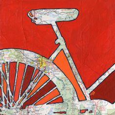 Bike Portland no.2 print of bicycle map painting  Portland, Vancouver, Tillamook, Oregon City, Beaverton, Hillsboro Oregon