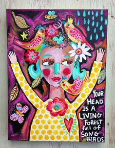 Folk Art Girl Mixed Media on Canvas