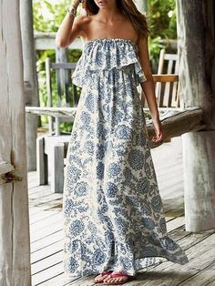 Blue Bandeau Folk Print Ruffle Trim Maxi Dress | Choies - Just Out Having Fun