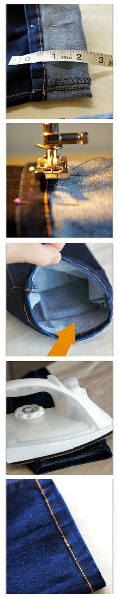 How to Hem Jeans and Keep the Original Hem--EASY tutorial #diy