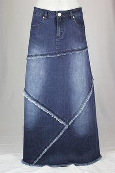 theskirtoutlet.com Fairytale Fringes Long Jean Skirt