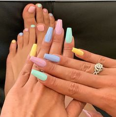 Acrylic Nails Pastel, Acrylic Nails Coffin Short, Cute Acrylic Nail Designs, Summer Acrylic Nails, Best Acrylic Nails, Fingernail Designs, Colorful Nail Designs, Easter Color Nails, Multicolored Nails