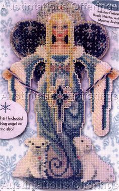 Spirit Angels Bead Cross Stitch Kit Brooke's Books Snow Angel Vintage Rare Needlework Kits - Contemporary Stitchery Crafts