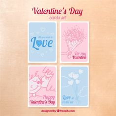 Lovely valentines day cards pack Free Vector