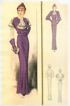 Fabulous 1930s fashion plate featuring a floor length purple evening dress. #vintage #1930s #fashion