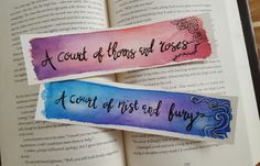 A Court of Thorns and Roses Watercolor Bookmark, A Court of Mist and Fury, Gift For Booklover, Young Adult Bookmark by Marquisdusoleil on Etsy https://www.etsy.com/listing/289791857/a-court-of-thorns-and-roses-watercolor
