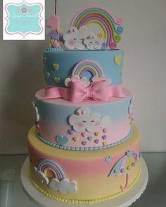 Baby Birthday Cakes, Rainbow Birthday Party, Birthday Cake Girls, Unicorn Birthday Parties, Cupcakes, Cupcake Cakes, Bolo Fack, Cloud Party, Cloud Cake