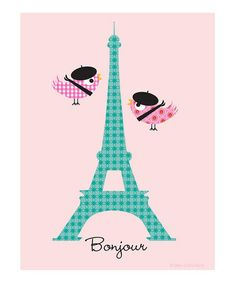 Take a look at this 'Bonjour' Birds Print by Ellen Crimi-Trent on #zulily today!