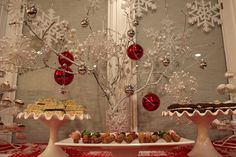 DIY Frosted branches.  Makes beautiful winter wonderland dessert table.