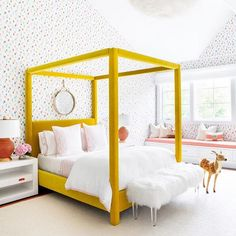 teen girl bedroom with yellow bed, girl room design, Yellow four poster bed frame and polka-dot wallpaper. Love the color story for a kids room. Chango & Co. Bedroom Inspo, Bedroom Decor, Bedroom Ideas, Lego Bedroom, Bedding Decor, Rustic Bedding, Chic Bedding, Bedroom Wall, Wall Decor
