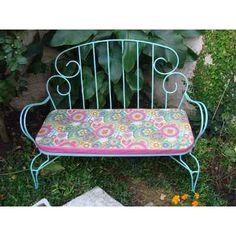 sillon de hierro con banquito tapizado en composé. | Sillas ...