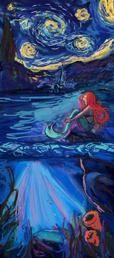 Starry Starry Night with Little Mermaid Art Print