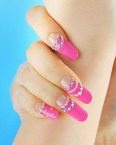 pink french bling nail art