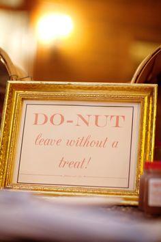 Blush & Gold Orchard Wedding - Style Me Pretty Wedding Puns, Wedding Donuts, Our Wedding, Donut Wedding Cake, Wedding Reception, Wedding Favor Table, Wedding Blush, Reception Table, Reception Ideas