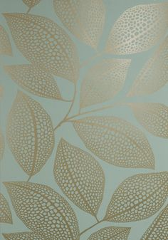 Pebble Leaf wallpaper in verdigris by Missprint