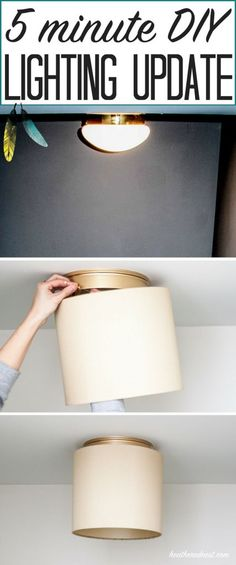 AMAZING IDEA! No tools needed! Hate your BOOB LIGHTS? Me too. This popular, super easy DIY can be done in 5 MINUTES!!! GREAT DIY lighting update from heatherednest.com