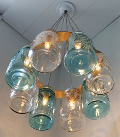 Modern Country MASON JAR Chandelier Upcycled Hanging by BootsNGus