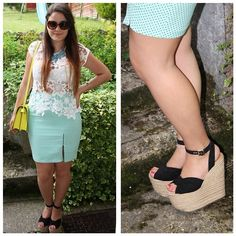 Get this look: http://lb.nu/look/5126578  More looks by Micaela Pereira: http://lb.nu/micaelapereira  Items in this look:  Zara Mint Pencil Skirt, Zara Lace Tee, Zara Neon Yellow Satchel, H&M Blue Statement Necklace, Topshop Mega Platform Wedges