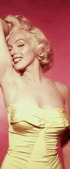 1953: Marilyn Monroe wearing a yellow dress--would be cute details for a bathing suit!