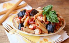 """Pasta alla Norma"" is a classic Italian recipe from the city of Catania on the island of Sicily.  It is a vegetarian dish made with eggplant and penne pasta."