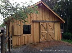 Barn Plans - Stall Horse Barn With Tack and Feed. Horse Barn Plans for sale. Large selection of Horse Barn Plans For Sale. Mini Horse Barn, Small Horse Barns, Mini Barn, Horse Barn Plans, Cabana, Horse Barn Designs, Horse Shelter, Goat Barn, Barn Renovation