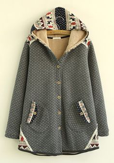 Grey Patchwork Single Breasted Cotton Blend Padded Coat