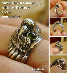 Silver Raven Ring with Green Tourmaline Companion by GeshaR on Etsy https://www.etsy.com/listing/227266785/silver-raven-ring-with-green-tourmaline