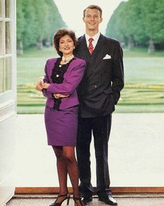 Alexandra Manley and Prince Joachim of Denmark  Alexandra Manley and Prince Joachim posed for this engagement photo in 1995. So that's really the problem here I suppose…the oh so dated outfit and hair do on the future Princess. Otherwise it's pretty cute!