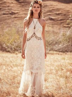 Free People beach halter wedding dress