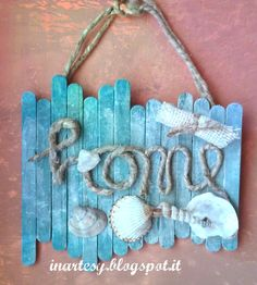 inartesy: ❤Fuoriporta Home in Summer style Seashell Crafts, Beach Crafts, Diy Home Crafts, Summer Crafts, Crafts For Kids, Arts And Crafts, Neon Crafts, Paper Crafts, Diy Wall Art