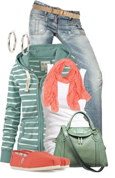 Evoke Style - Evoking You|Fashion Inspiration Blog. Like the coral w this green hoodie!
