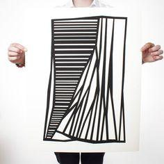 Linear Black 19x24  by Harold Krisel