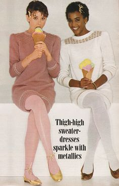 November 1981. 'Holiday lights shine in the metallic trim of short 'n' sweet sweater dresses that you can knit from one basic pattern.'